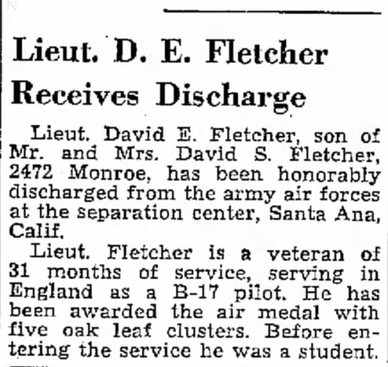 David Eldon Fletcher honorably discharged from the Air Force -