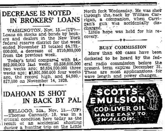 1929 William Carrigan accidentally shooting friend -