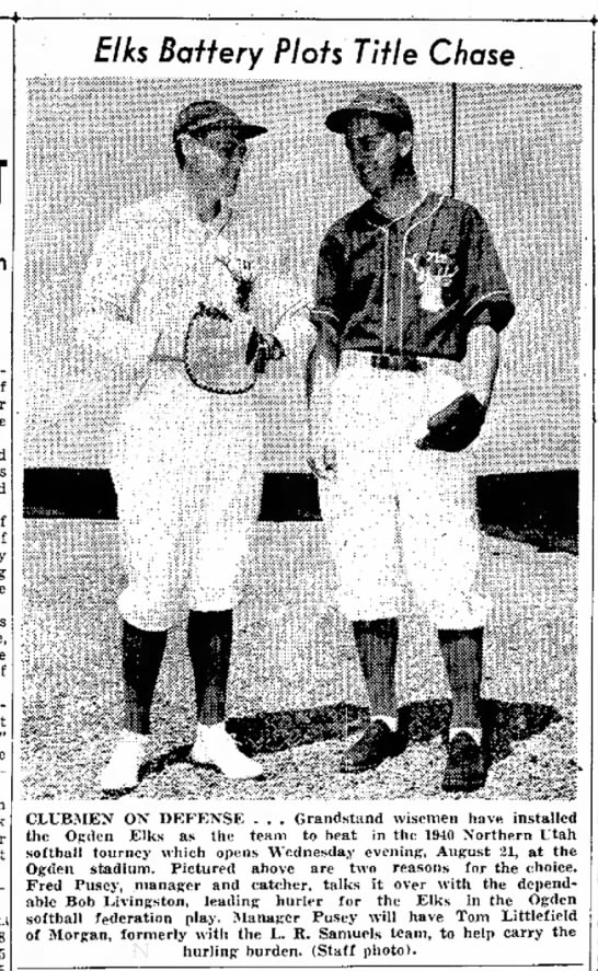 Fred Pusey to Play at Ogden Stadium 18 Aug 1940 -