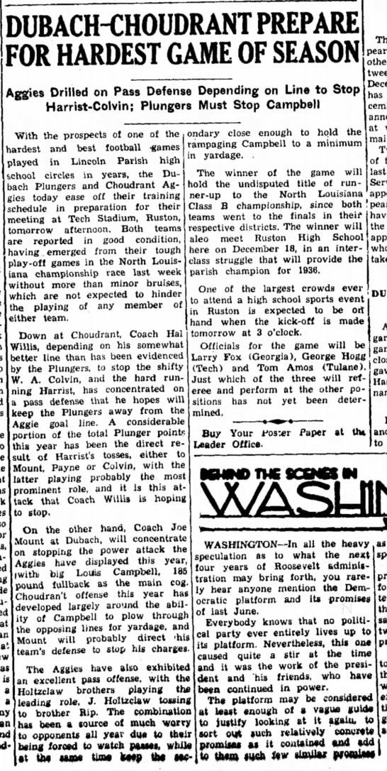 Dubach Choudrant Game 1936 Dec 9 -