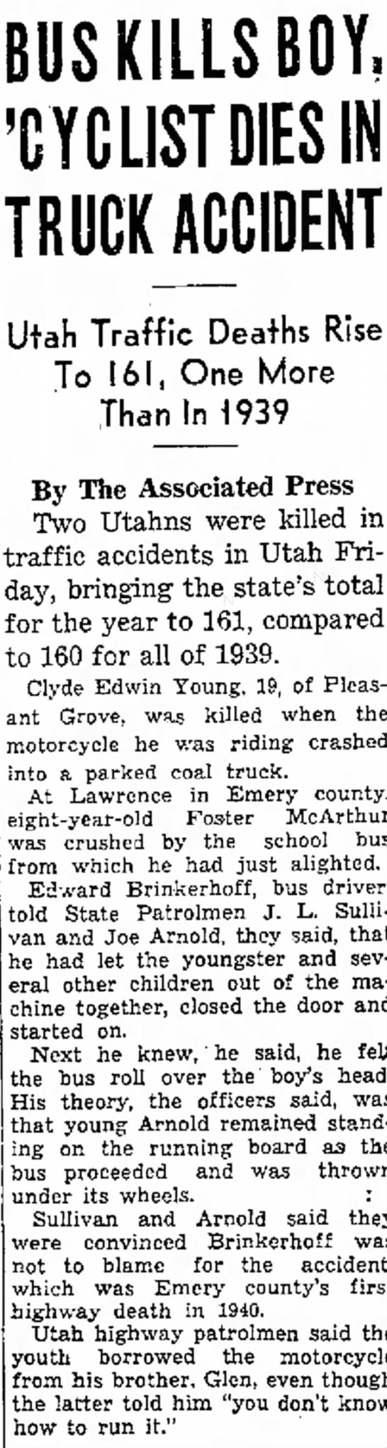 21 Dec 1940 Bus Kills Boy, 'Cyclist Dies in Truck Accident, Edward Brinkerhoff -