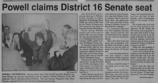 1990 12 20 Webster Progress-Times Thu p1, Tuck-Powell calins Senate seat -