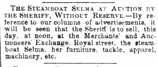 25 April 1868 SALE! The Steamboat Selma -