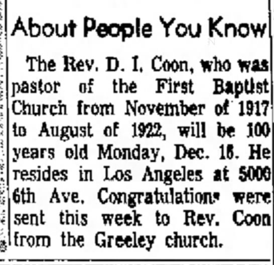 Rev. Coon about to turn 100 -