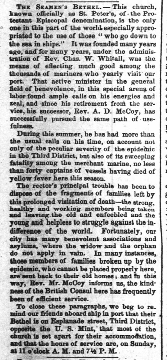The Times-Picayune (New Orleans, LA) October 22, 1858. The Seamen's Bethel. Charles W. Whitall - Thx Sxakxn's Bbthel. This church, known...