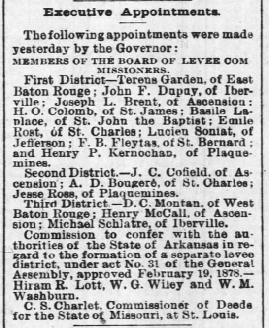 Executive appointments 1878 Apr 16 -