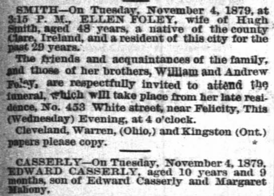 - SMITH On Tuesday, November 4, 1879, at 3:15 P....