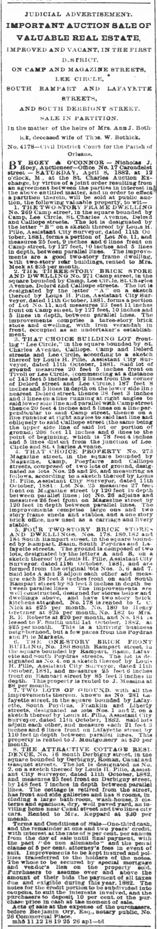 Louis H Pilié , Assistant City Surveyor Times Picayune 18 Mar 1882, Sat 1st Edition, pg 8 -