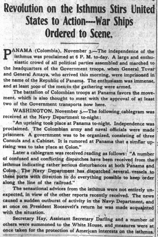 Panama Secedes From Columbia Part 2 - Revolution on the Isthmus Stirs United States...