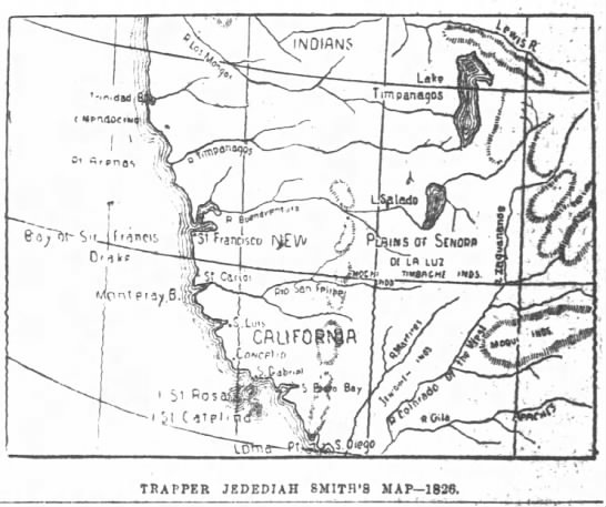 SF Chronicle 1895Trapper J. Smith Map 1826 -
