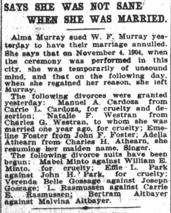San Francisco Chronicle (San Francisco, California) 10 May 1905 - SAYS SHE WAS HOT SANE WHEN SHE WAS MARRIED Aims...