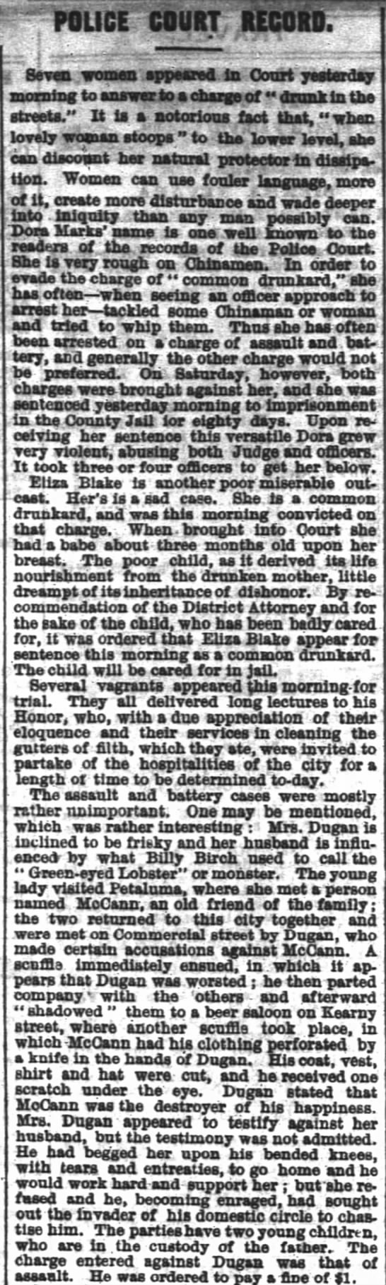 Description of Drunk Women - October 5, 1869 - SF Chronicle -