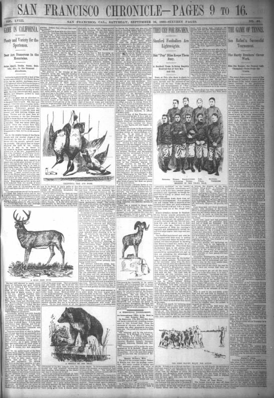 SF Chron 16 Sep 1893 - Sportsmans issue Cazadero wildlife