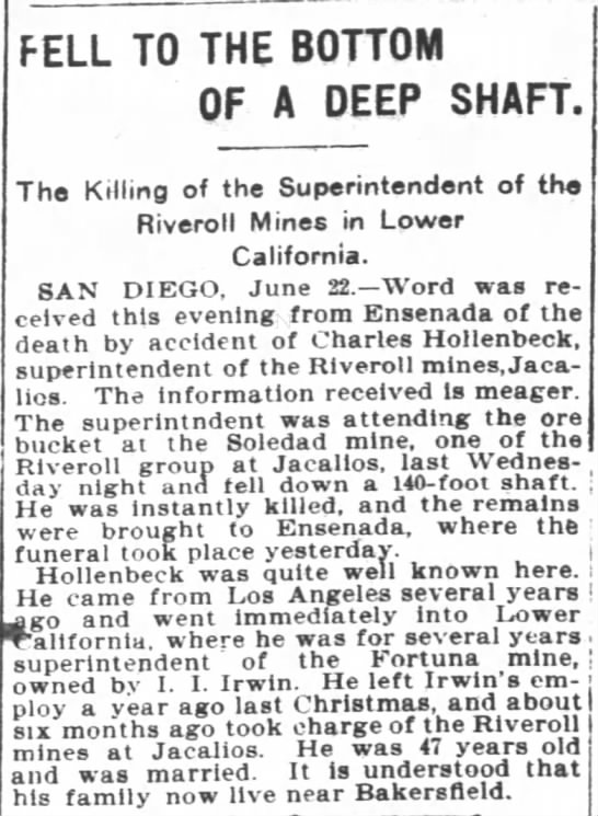 1901 Jun 23 - Charles Hollenbeck - San Francisco Chronicle - Died in Mine Accident - FELL TO THE BOTTOM OF A DEEP SHAFT The Killing...