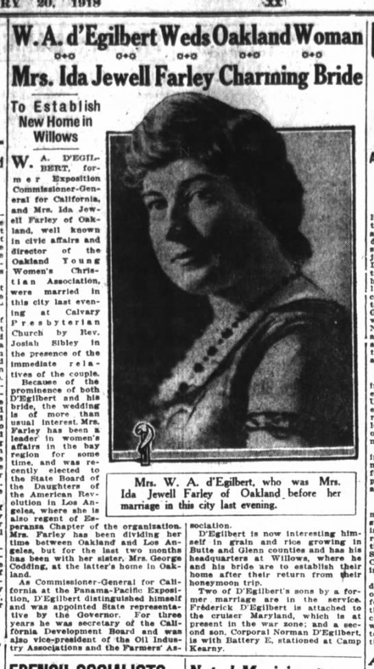 Ida married Degilbert 1918 -
