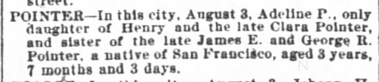 SF Chronicle 4 Aug 1902Adeline P Pointer -