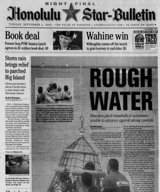 Sept. 2003: Waikiki Roughwater Swim lives up to it's name -