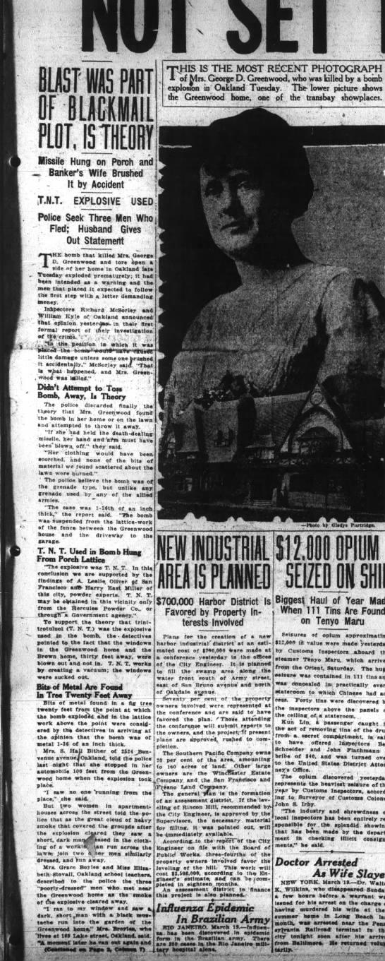 Blast was a Part of Blackmail Threat - S.F. Examiner March 20, 1919 -