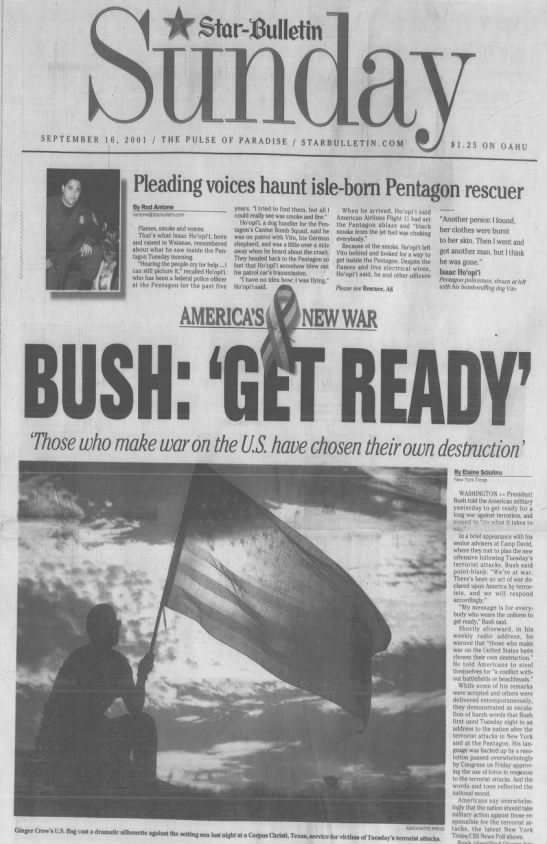 Sept. 16, 2001: In 9/11 aftermath, President Bush tells military to get ready for long war -