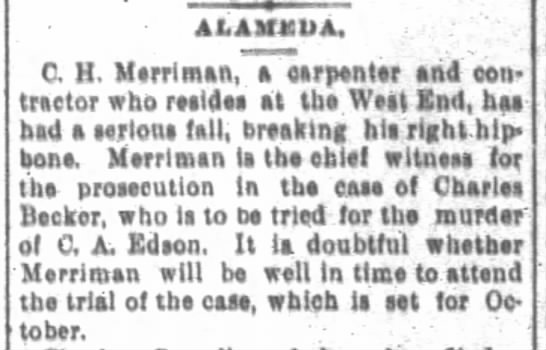 San Francisco Chronicle 31 Aug 1894 Witness for murder case has accident -