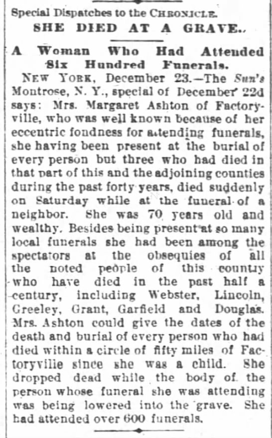 1886 Dec 23  Woman Drops Dead at Funeral - Special Dispatches to the CHB03JCXK SHE DIED AT...