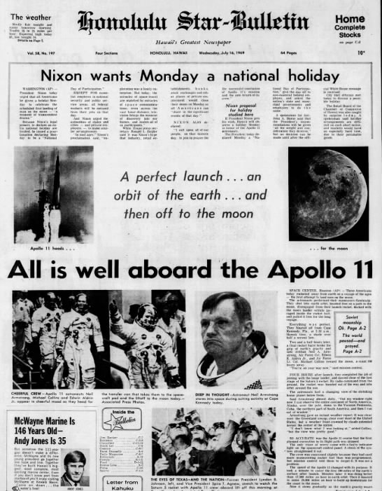 July 16, 1969: Apollo 11 launches on historic trip to the moon -