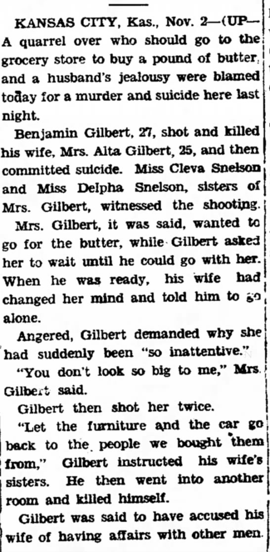 Benjamin Gilbert Suicide - KANSAS CITY, Kas., Nov. 2—(UP— A quarrel over...