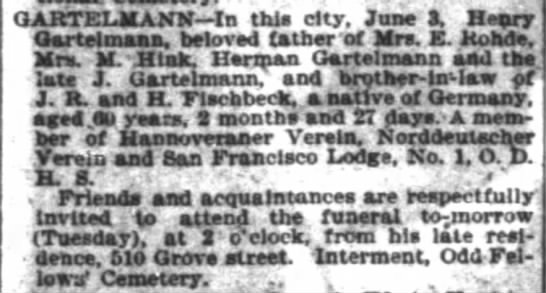 Henry Gartlemann Obituary