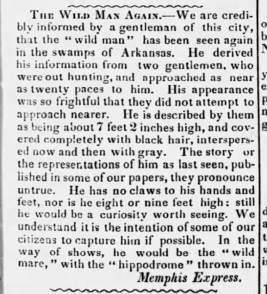 """Wild Man"" account, 1852 - The Wild Max Again. We are credibly informed by..."