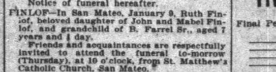Obituary Finlof 10 Jan 1900- SF Chronicle -