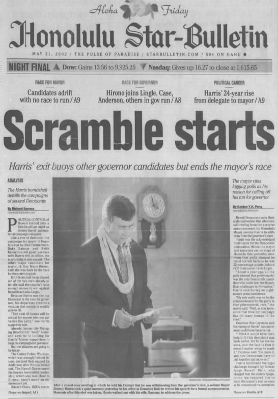 May 2002: Honolulu Mayor Jeremy Harris ends bid for governor, setting off political scramble -
