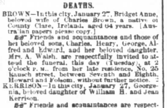 - DEATHS ltv belov od wife of Cnartaa Brow County...