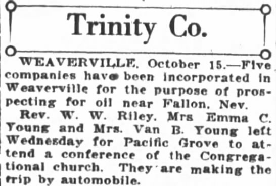 Rev. W.W. Riley traveling to Pacific Grove conference of the Congregational Church -