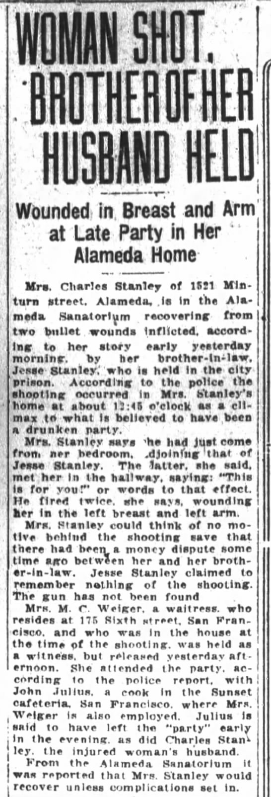 Jesse Stanley shoots wife of brother Charles Stanley (our relative?) -