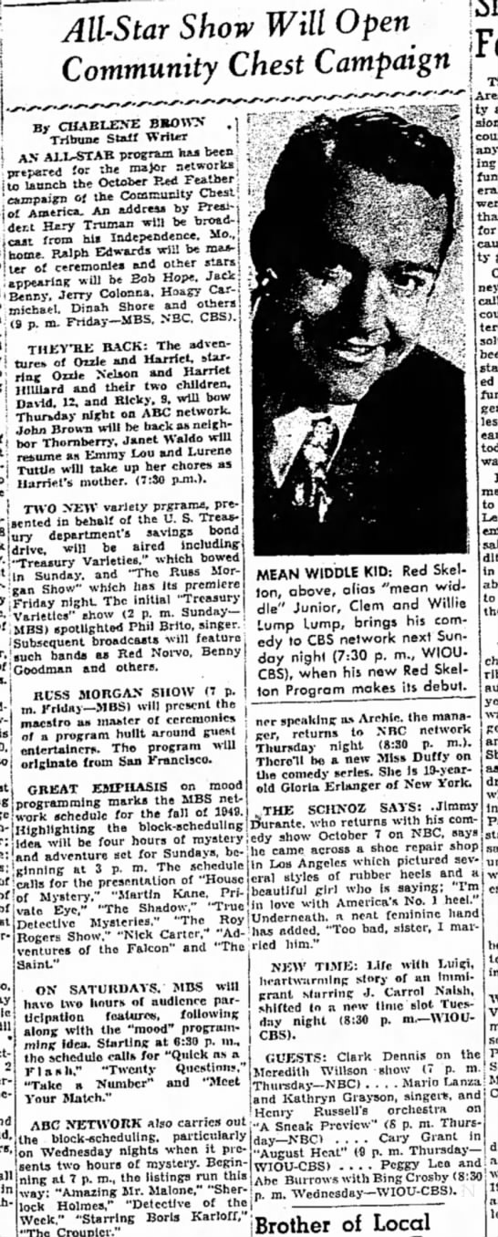 All-Star show (radio preview) fall 1949 -