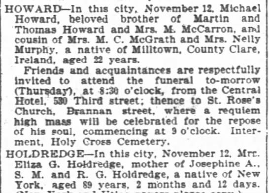 - HOWARD In this city November 11 Michael Howard...