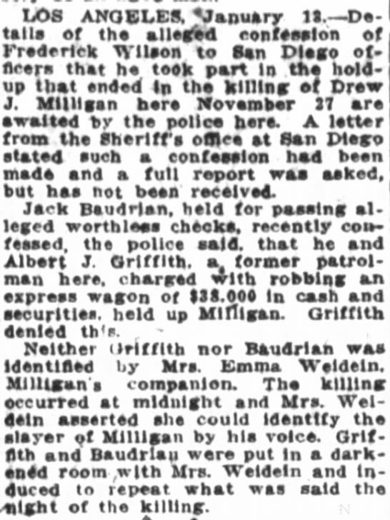 Albert J Griffith Crime 1917 -