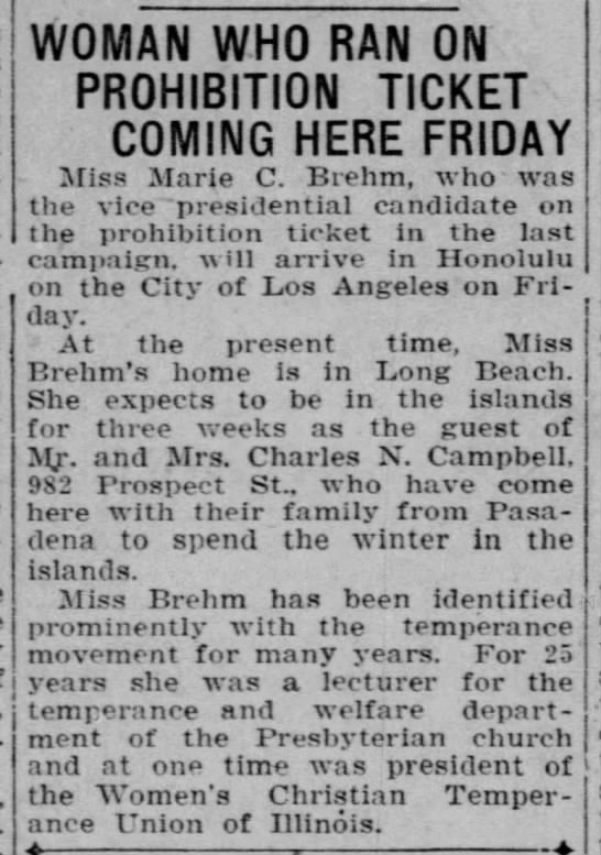 Woman Who Ran On Prohibition Ticket Coming Here Friday -