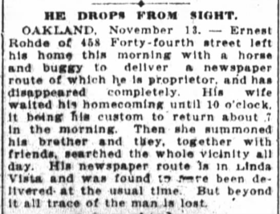 Ernest Rohde Missing