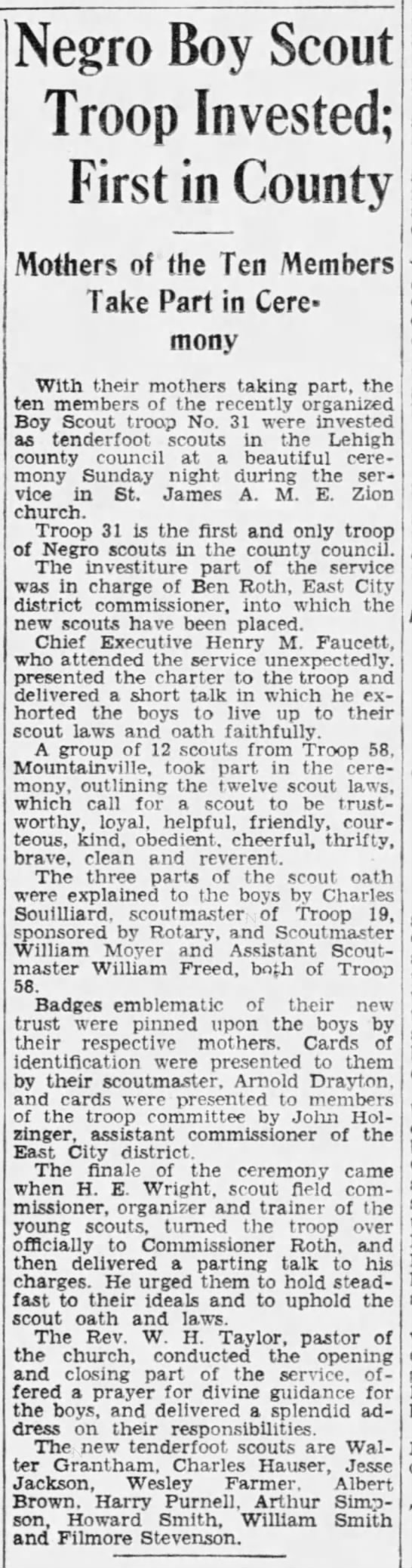 Boy Scout Troop#31 (1st Afro-American Boy Scout troop in Lehigh Co.) - St James AME Zion Church -