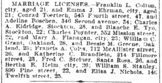 SF Chronicle 18 July 1900Marriage -
