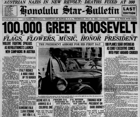 July 1934: FDR visits Hawaii -