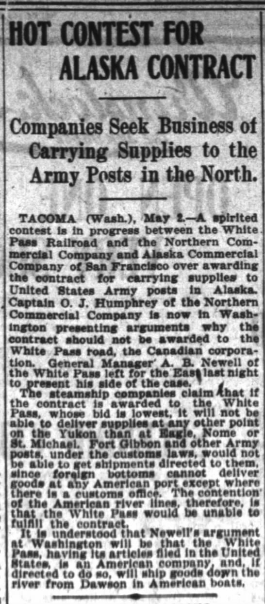 OJHs Ak steamship army contracts SF Chronicle 3May1903 -