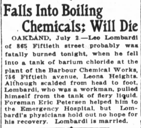 Barbour Chemical - accident -