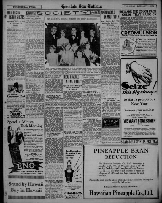 Society page, Star-Bulletin, 1931 -