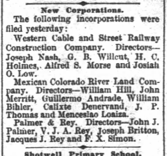 New Corporation 11 April 1889 - San Francisco Chronicle -