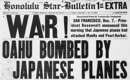 War! Honolulu Paper Headline, Dec 7 1941 -