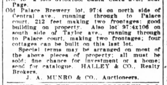 Palace Brewery Lot - Auction Sale  May 11 1911 -