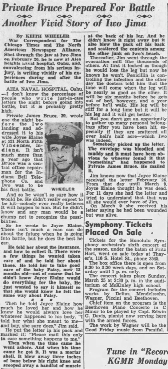 Private James Bruce gives a first hand account of the Battle of Iwo Jima -
