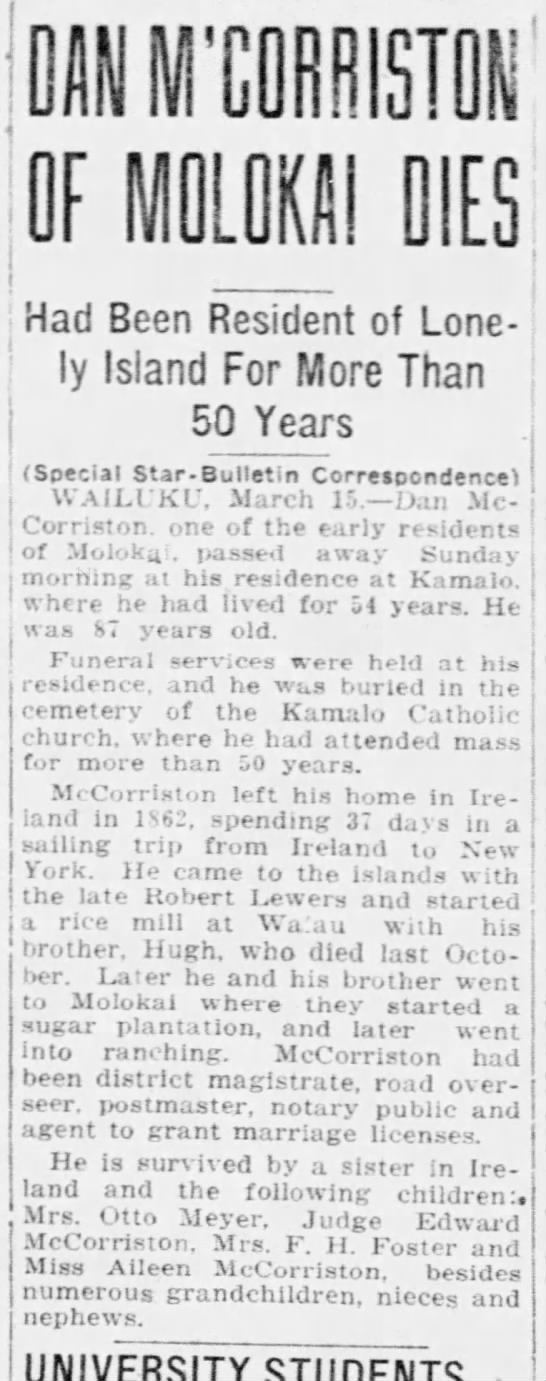 Obituary of Daniel McCorriston (1840-1927), 1927 -